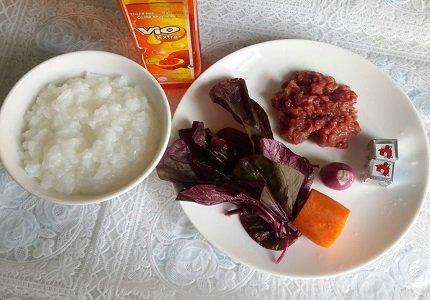 Nguyên liệu nấu cháo thịt bỏ rau dền