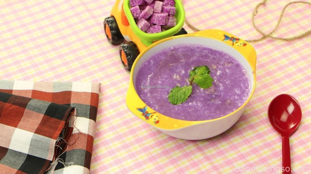 nấu cháo tôm khoai lang, khoai tây và khoai môn cho bé ăn dặm